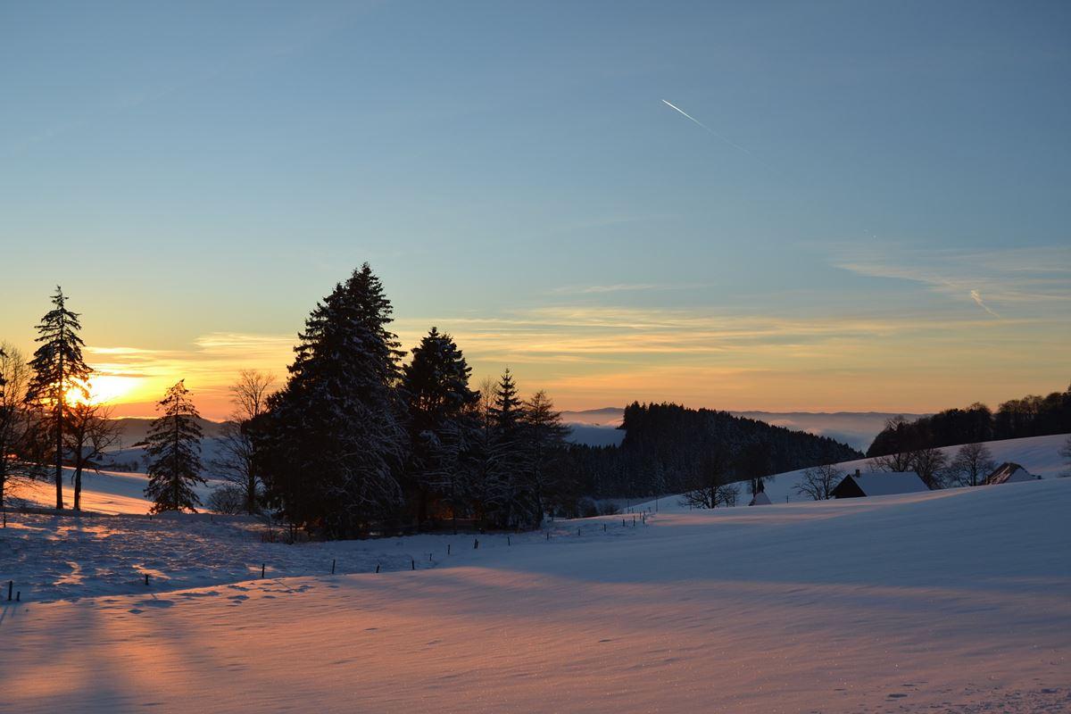 Sonnenuntergang im Hochschwarzwald