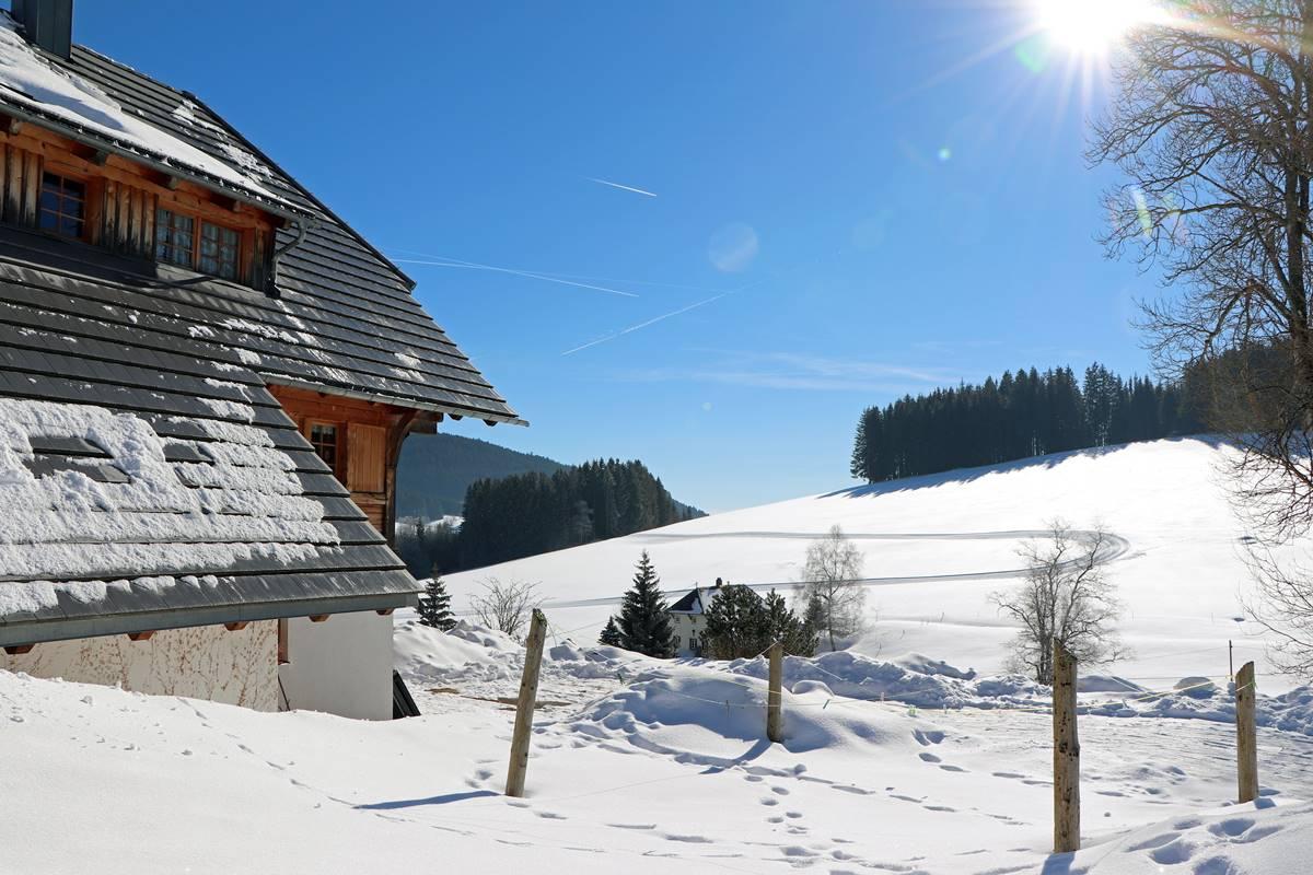 Winterlandschaft und Loipe auf dem gegenüberliegenden Hang
