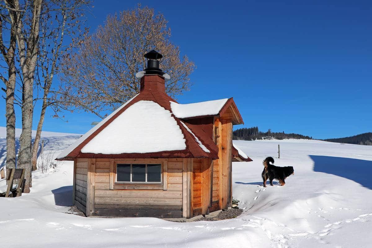 Grillhütte im Winter und der Hund macht Schneespuren